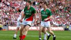 Mayo's Alan Freeman celebrates scoring their  goal from a penalty in the All-Ireland Senior Fotball Championship semi-final against Tyrone at Croke Park. Photograph: Ryan Byrne/Inpho