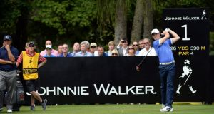 Tommy Fleetwood drives from the first tee in the final round of the  Johnnie Walker Championship at Gleneagles. Photograph: Ross Kinnaird/Getty Images