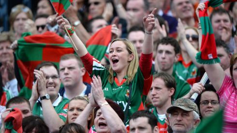 Mayo fans celebrate after defeating Tyrone during the All Ireland senior football championship semi-final at Croke Park. Photo: Dara Mac Donaill / THE IRISH TIMES