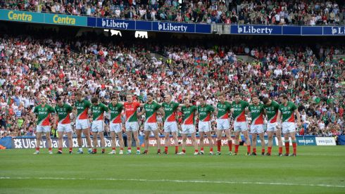 Mayo team line up against Tyrone in the All Ireland senior football championship semi-final at Croke Park. Photo: Dara Mac Donaill / THE IRISH TIMES