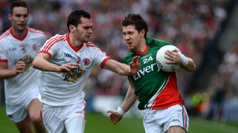 Enda Varley, Mayo and Ryan McKenna, Tyrone during the All Ireland senior football championship semi-final. Photo: Dara Mac Donaill / THE IRISH TIMES