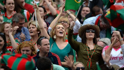 Mayo fans celebrate in Croke Park. Photo: Dara Mac Donaill / THE IRISH TIMES