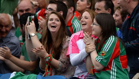 Mayo fans celebrate afterthe All Ireland senior football championship semi-final at Croke Park. Photo: Dara Mac Donaill / THE IRISH TIMES