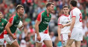 Mayo's Aidan O'Shea and Seamus O'Shea react after a foul by Tyrone's Colm Cavanagh at Croke Park. Photograph: Cathal Noonan/Inpho