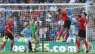 Cardiff City's Fraizer Campbell scores his side's third goal against Manchester City. Nick Potts/PA Wire.
