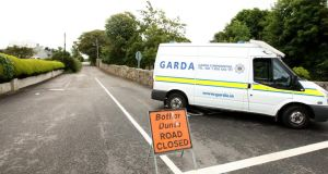 Gardaí near the scene of the suspected hit-and-run at Newtown Road, Bundoran, Co Donegal, yesterday. Photograph: Thomas Gallagher