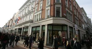 Brown Thomas, shop fronts on Grafton Street, Dublin. The company, which employs some 1,000 people, is next year facing a large increase in its commercial rates bill – to €1.1 million. Photograph: Dara Mac Dónaill/The Irish Times
