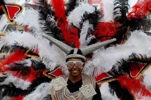 A performer in the children's day parade at Notting Hill Carnival in west London. Photograph: Stefan Wermuth/Reuters