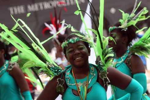 Entertainers take part in the Notting Hill Carnival in west London. Photograph: Steve Parsons/PA Wire