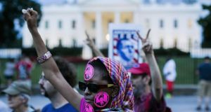 Demonstrators in solidarity with Bradley (Chelsea) Manning in Washington. Photograph: Getty Images