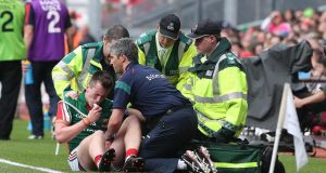 Mayo's Cillian O'Connor who dislocated his shoulder against Tyrone and is  a major doubt to make the All-Ireland final in four weeks. Photograph:  Lorraine O'Sullivan/Inpho