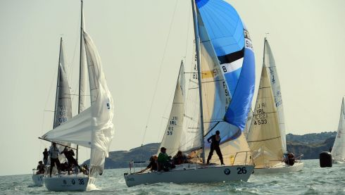 Part of the fleet under spinnaker in the second race of the BMW J24 World Championships. Photo: Cyril Byrne / THE IRISH TIMES