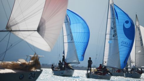 The BMW J24 World Championships  off Howth yesterday. Photo: Cyril Byrne / THE IRISH TIMES