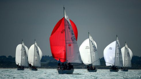 The second race of the BMW J24 World Championships  off Howth yesterday. Photo: Cyril Byrne / THE IRISH TIMES