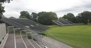 Work is continuing on the grandstands at Malahide ahead of next week's match. Photograph: Cricket Ireland