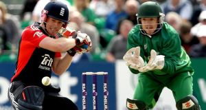 England's Eoin Morgan and Niall O'Brien of Ireland during a one-day match in Clontarf in 2011. Photograph: James Crombie/Inpho