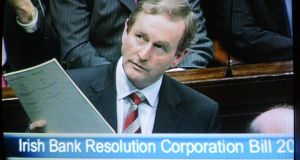 Taoiseach Enda Kenny during talks last February to move legislation to dissolve the IBRC.