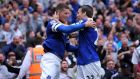 Everton's Ross Barkley (left) celebrates scoring against Norwich City with team-mate Seamus Coleman. Photograph: Nigel French/PA Wire.