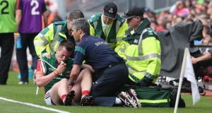 Mayo's Cillian O'Connor receives treatment on his injured left shoulder after going off in last Sunday's All-Ireland semi-final against Tyrone. Photograph: Lorraine O'Sullivan/Inpho