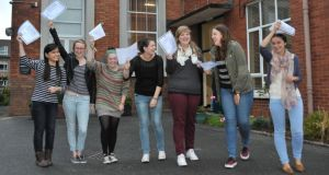 Leaving Cert students  celebrating their results earlier this month at St Aloysius school in Cork. Photograph: Provision.