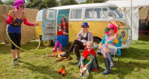 (Left-right) Fairie Mo, Claire Kehoe, Holly O'Sullivan, Felix Jellett with his dog Zippy and Lucy McCarron at the Electric Picnic Press Launch 2013. Photograph: Liam McBurney/PA Wire