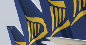 Ryanair lost ground on investor concerns over price of aviation fuel. Photograph: Alan Betson