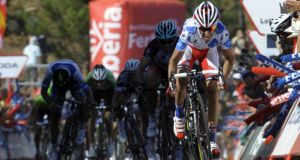 Katusha Team's Daniel Moreno on his way to winning the fourth stage of the  Tour of Spain yesterday from  Lalin and Fisterra. Photograph: Miguel   Riopa/AFP/Getty Images