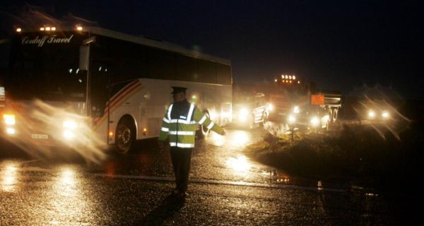 Gardaí directing vehicles at Shell's gas refinery site at Ballinaboy in north Mayo. A former Shell contractor, OSSL, claims it made deliveries of alcohol to Belmullet Garda station between 2005 and 2007, claims which Shell denies.