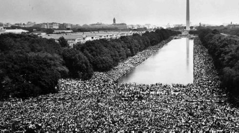 "Hundreds of thousands of marchers gather in front of the Washington monument and listen as the Rev. Martin Luther King Jr. delivers his ""I Have A Dream"" speech from the steps of the Lincoln Memorial during the March on Washington for Jobs and Freedom on  August 28th 1963. Photograph: Rowland Scherman/US Information Agency/US National Archives/Reuters"