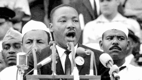The Reverend Martin Luther King, Jr. delivers his 'I have a dream' speech at the Lincoln memorial on August 28th 1963.