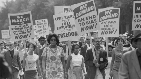"Protesters at the March on Washington for Jobs and Freedom, where about 250,000 people peacefully demonstrated, on August 28th 1963. President Barack Obama will speak on the steps of the Lincoln Memorial to observe the anniversary of the march, 50 years after one of the march's organizers, the Rev. Martin Luther King Jr., delivered his ""I Have a Dream"" speech. Photograph: Carl T. Gossett Jr./The New York Times"