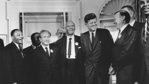 28th August 1963, US president John F. Kennedy in the White House with leaders of the civil rights 'March on Washington' (left to right) Whitney Young, Dr Martin Luther King (1929  - 1968), Rabbi Joachim Prinz, A. Philip Randolph, President Kennedy, Walter Reuther  and Roy Wilkins.  Photograph: Three Lions/Getty Images