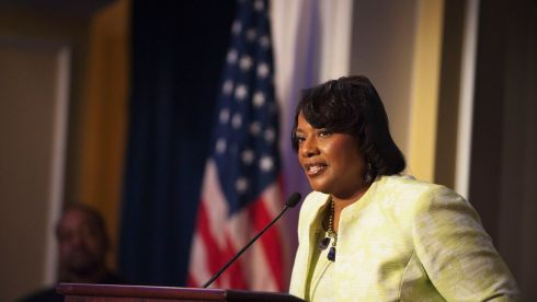 "Rev. Bernice King, CEO of The King Center and daughter of Rev. Martin Luther King Jr, speaks during an ""I Have a Dream"" gospel brunch in Washington on Sunday. Photograph: Mary F. Calvert/Reuters"