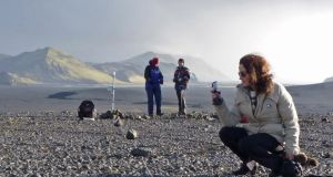 Siobhán McDonald, artist-in-residence at the science building in UCD, at work at Vatnajökull in Iceland, with a team of scientists