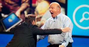 Steve Ballmer greets host Ryan Seacrest at the 2012 International Consumer Electronics Show in Las Vegas, Nevada, in 2012. Photograph: David Paul Morris/Bloomberg