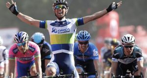 Orica-GreenEdge's Australian rider Michael Matthews celebrates his stage  victory at theTour of Spain, a 174.3km stage between Sober and Lago de Sanabria. Photograph:  Jose Jordan/AFP/Getty Images.