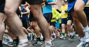 Runners at the start of the Dublin Marathon. Photograph: Cyril Byrne/The Irish Times
