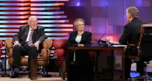 Pat Kenny with Ian and Eileen Paisley  on the Late Late Show. Photograph: Frank Miller