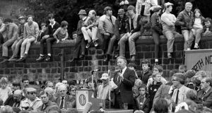 Arthur Scargill addresses a rally in Barnsley, Yorkshire. Irish trade unionists looked on in horror as their British comrades provided an object lesson in how not to run your business. Photograph: PA