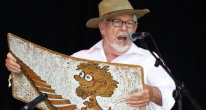 Australian entertainer Rolf Harris performs in June 2010 at the Glastonbury Festival. Harris has been charged with 13 child sex offences, the latest in a series of high-profile celebrities from the 1970s and 1980s. Photograph: Luke MacGregor/Reuters