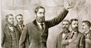 Land League: Parnell addresses a meeting, in an illustration published by Currier & Ives, in New York, around 1881. Photograph: Library of Congress