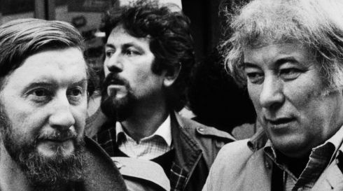 Seamus Heaney at an anti-apartheid protest in Dublin in 1985.  Photograph: Matt Kavanagh/The Irish Times