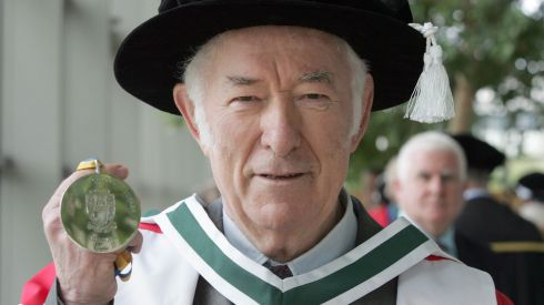 Seamus Heaney, who was presented with the UCD Ulysses Medal, at the Bloomsday Conferrings at Belfield in 2011.  Photograph: Eric Luke/The Irish Times