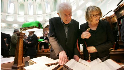 The poet Dr Seamus Heaney his wife Marie at  a ceremony in the reading room of the National Library where the literary papers of the Irish Nobel Laureate , poet Dr Seamus Heaney were donated in 2011. The archive  includes manuscripts of Heaney's poetry, handwritten and typed loose leaf worksheets and notebooks that span his literary career. Photograph: Bryan O'Brien/The Irish Times