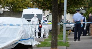 The scene at Cherrywood Drive, Clondalkin today after  father-of-two Jason Carroll was fatally shot last night. The 39-year-old was taken to Tallaght Hospital, where he died of his injuries. Photograph: Alan Betson/The Irish Times