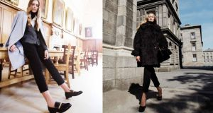 Left: Cashmere and wool coat, €3,200, Celine; cardigan, €590, Prada; white silk shirt, €780, Celine; Black polo, €495, Dolce & Gabbana; trousers, €995, Victoria Beckham; chain detail leather slippers, €760, Celine. Right: Sheepskin coat, €1,980, Celine; sleeveless neoprene top, €495, JW Anderson; trousers, €650, Alexander McQueen; leather duffel bag, €1,810, Saint Laurent Paris; woven leather platform courts, €630, Bottega Veneta