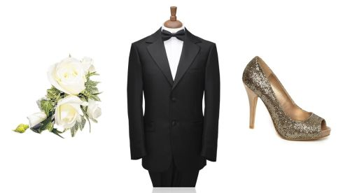Rose and ivy corsage, €26.99, flowersmadeeasy.com; Two-button black notch lape two piece, starting €150 at Bond Brothers formal wear, Goatstown; Gold glitter peeptoe shoe, €30, Dunes Stores
