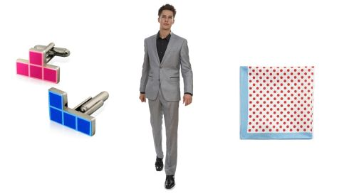 Tetris cufflinks, €5, littlewoodsireland.ie; Grey fine check suit, €179, Dorian Black, Anne's Lane, Dublin 2; Silk pocket square, €23.79 at Hugo Boss