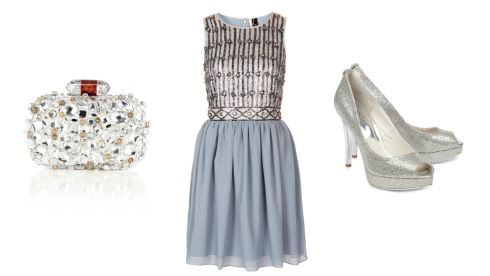 Edlyn encrusted clutch, €105 at Coast; Embellished prom dress, €87.39, topshop.com; Michael Kors peep toe, €169 at Harvey Nichols