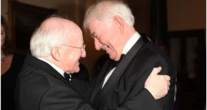 "President Michael D Higgins id greets Seamus Heaney during the Irish Book Awards at the RDS, Dublin, in 2011.  The president said yesterday: ""The presence of Seamus was a warm one, full of humour, care and courtesy – a courtesy that enabled him to carry with such wry Northern Irish dignity so many well-deserved honours from all over the world.""  Photograph: Brenda Fitzsimons"